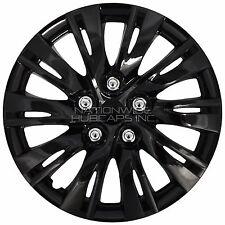 "16"" Set of 4 Black Wheel Covers Snap On Full Hub Caps fit R16 Tire & Steel Rim"