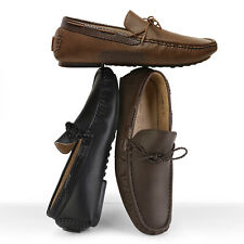 Color : Coffee, Size : 8 MUS TongLing Mens Driving Penny Loafers Genuine Leather Boat Moccasins Rubber Studs Sole Dress Shoes