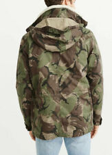 NWT Abercrombie & Fitch Men Sherpa Removable Military Combat Jacket Green Camo M