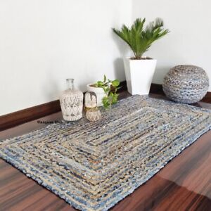 Rug Natural Jute and Denim handmade modern living area carpet rug home decor rug