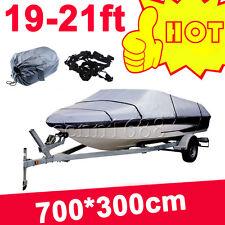 19-21ft Heavy Duty Speedboat Boat Cover Grey Waterproof Match Fish-Ski V-Hull