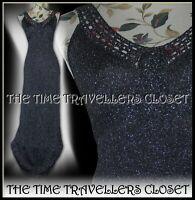 BIBA Silver Black Crochet Stretch Lurex Knit Maxi Studio 54 Vtg Dress UK 8 36 4