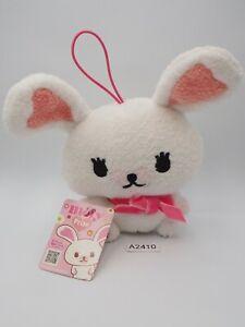 "Mofy Moffi A2410 White Rabbit SEGA Keychain Mascot TAG Plush 5"" Toy Doll Japan"