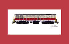 """Lackawanna H-24-66 Trainmaster 11""""x17"""" Matted Print Andy Fletcher signed"""