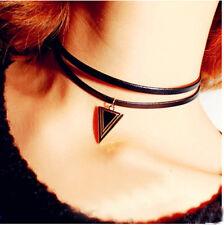Gothic Cord Choker Charm Retro Necklace Leather Pendant Bib Chain