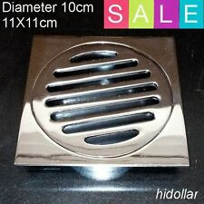 SQUARE CHROME BRASS FLOOR GRATE DRAIN WASTE 100MM 360G SHOWER BATHROOM LAUNDRY