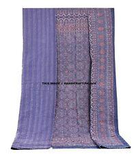 Ajrakh Kantha Cotton Patchwork Quilt Indian Bedspread Blanket Throw- King Quilt