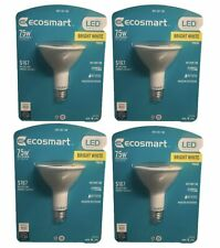 4 Pack EcoSmart 75W Replacement 14w Bright White Par30 Flood Bulbs Dimmable New!