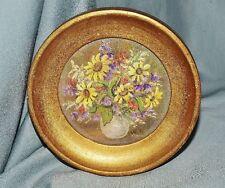 kleines Gemälde Blumenstilleben, rund, Öl auf Karton, W. Schatterny