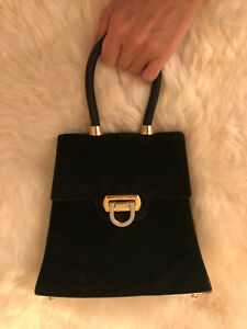 AUTHENTIC GINA TRENDY MICRO EVENING BAG BLACK SUEDE GOLD + SILVER HARDWARE