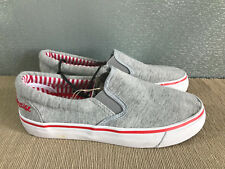 BNWT Ladies Older Girls Sz 5 Rivers Doghouse Brand grey red slip on Canvas Shoe