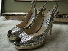 Jimmy Choo Clue Glitter Slingback Pump Shoes Size 41 $675