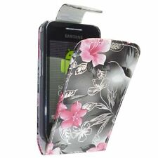 CASE FOR SAMSUNG GALAXY ACE GREY PINK FLOWER FLIP PU LEATHER POUCH PHONE COVER