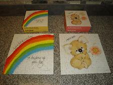 "Vintage 1977 Lot of 2 Springbok Mini Jigsaw 70+ Puzzle 7""x7"" Koala & Rainbow"