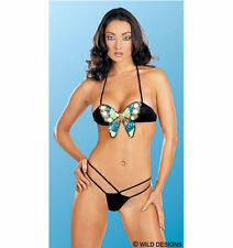 SEQUIN BUTTERFLY BRA AND G-STRING BIKINI SET, SIZE: SMALL