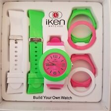 Flat Iken Build Your Own Watch Green Pink  And White Gift Box