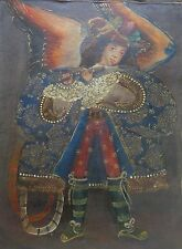 Peruvian Cusco Folk Art Oil Painting on Cloth Canvas: Angel Playing Flute