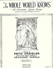 THE WHOLE WORLD KNOWS-A Viennese Love Song-Sheet music-1934-VG