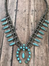 """Long Western Faux Turquoise Squash Blossom Turquoise Necklace 26"""""""