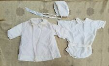 A34 Vintage Christening Baptismal Baby Boy Outfit Set Embroidered Bonnet Doll
