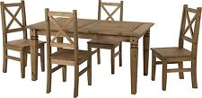Seconique Salvador Waxed Farmhouse Dining Set With 4 Chairs