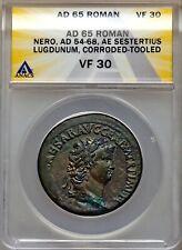 Nero  - Æ Sestertius , Lugdunum Mint - Roman Empire - Roma Seated , ANACS