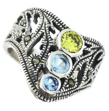 Multi Color Stones Antuque Desing Sterling Silver 925 Ladies Ring Size 8