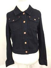 ModCloth Dark Wash Cotton Blend Denim Jacket w/Copper Buttons Sz M Motto Fall