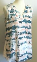 Cabi Women's Small loose fit tunic tank top pullover blouse teal  green peach