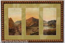 Painting Dipinto a olio su tavola Trittico Paesaggio rurale 1800 ca. con cornice