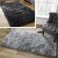 2018 Large Shaggy Floor Rug Plain Soft Sparkle Area Mat Thick Pile Glitter New *
