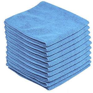 10 x BLUE CAR CLEANING DETAILING MICROFIBER SOFT POLISH CLOTHS TOWELS LINT FREE