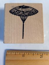 Rubber Stamp in the Hand Japanese Oriental oil paper bamboo Umbrella Wagasa rare
