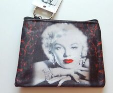 Marilyn Monroe Coin Purse- Red lips- black white red -attached  key ring