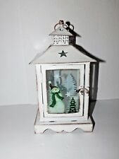 New White Metal & Glass Lantern with Tealight Battery Candle Snowman & Tree Dsgn