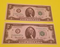 2 1976 $2 Consecutive serial numbers and Uncirculated