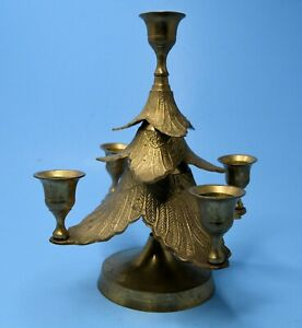 Brass Christmas Tree Candelabra Advent Ornate 5 Candle Holders