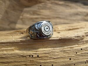 Stainless Steel Nickel 45 Auto Bullet Ring w/ Guns and Optional Crystal