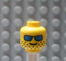 LEGO Classic Minifig Head Stubble Beard Smile and Blue Sunglasses