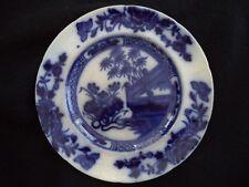 Flow Blue china pottery dinner plate Oriental 1830-1859 Samuel Alcock England