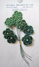 Beautiful Vintage Antique Multi Shade Green Velvet Millinery Hat Flower UNUSED