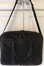 Baekgaard Rare Leather Trim Brown Business Laptop Bag With Strap Unisex