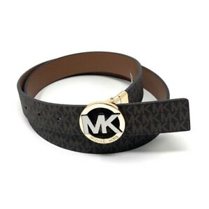 Michael Kors Women's Signature Monogram Twist MK Logo Reversible Belt