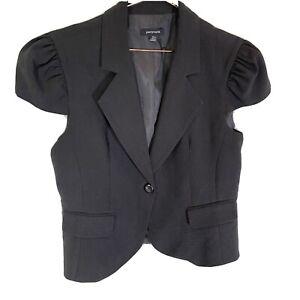 Portmans Black Vest Top - 14 - Button Up - Lined - Puff Sleeve