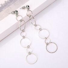 European Fashion Popular Round Pendant Long Chain Gold Silver Charm Earrings New