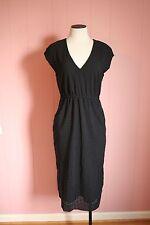 JCrew Perforated Drapey Side-Slit Dress 0 Black $158 NWT