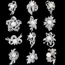 Job Lot12Pcs Silver Bridal Cake Broach Crystal Pearl Flower Diamante Pin Brooch