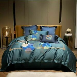 Luxury Egyptian Cotton Bedding Set Embroidery Duvet Cover Bed Sheet Pillowcase