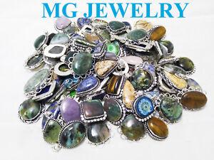 SALE ! Wholesale Lot ! 20Pcs Mix Pendant Lot Gemstone 925 Sterling Silver Plated