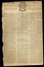 BENJAMIN FRANKLIN POSTMASTER 1754 PENNSYLVANIA GAZETTE PRINTED BY BEN FRANKLIN